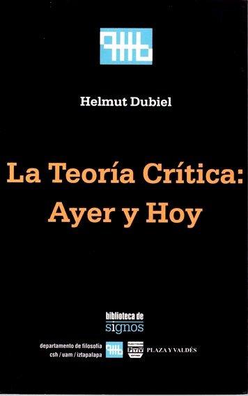 Portada LA TEORÍA CRÍTICA AYER Y HOY
