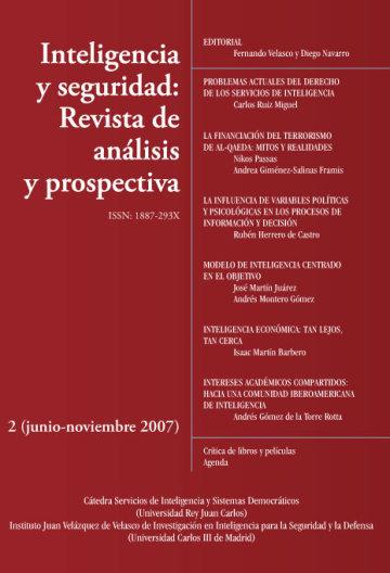 Portada INTELIGENCIA Y SEGURIDAD: REVISTA DE ANÁLISIS Y PROSPECTIVA. Nº 2