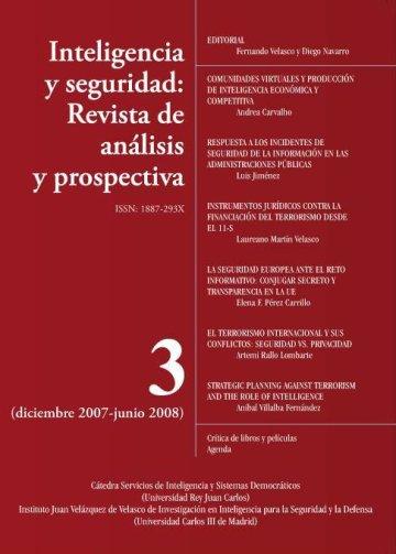 Portada INTELIGENCIA Y SEGURIDAD: REVISTA DE ANÁLISIS Y PROSPECTIVA. Nº 3