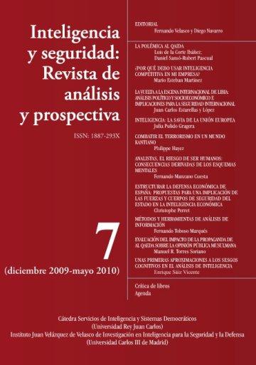 Portada INTELIGENCIA Y SEGURIDAD: REVISTA DE ANÁLISIS Y PROSPECTIVA. Nº 7