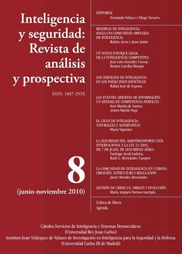 Portada INTELIGENCIA Y SEGURIDAD: REVISTA DE ANÁLISIS Y PROSPECTIVA. Nº 8