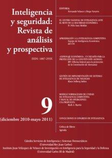 Portada INTELIGENCIA Y SEGURIDAD: REVISTA DE ANÁLISIS Y PROSPECTIVA. Nº 9
