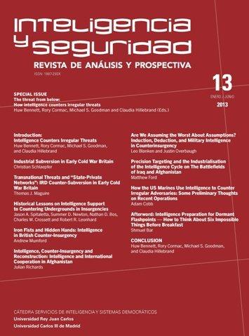 Portada INTELIGENCIA Y SEGURIDAD: REVISTA DE ANÁLISIS Y PROSPECTIVA. Nº 13