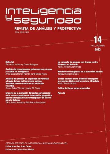 Portada INTELIGENCIA Y SEGURIDAD: REVISTA DE ANÁLISIS Y PROSPECTIVA. Nº 14