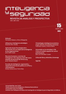 Portada INTELIGENCIA Y SEGURIDAD: REVISTA DE ANÁLISIS Y PROSPECTIVA. Nº 15