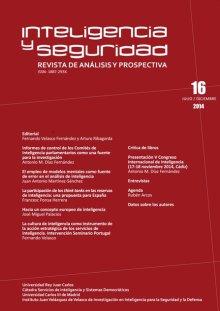 Portada INTELIGENCIA Y SEGURIDAD: REVISTA DE ANÁLISIS Y PROSPECTIVA. Nº 16